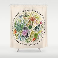 Succulents Mandala Shower Curtain