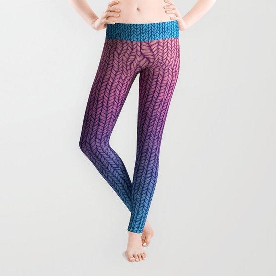 Knit Leggings Pattern : Chunky Knit Pattern in Pink, Blue & Purple Leggings by ...