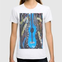Grunge Guitar Womens Fitted Tee Ash Grey SMALL