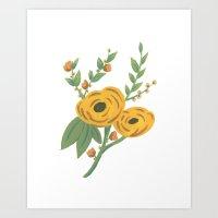 SPRING VINTAGE FLORAL Art Print