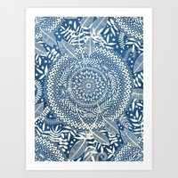 Art Prints featuring Diamond and Doodle Mandala On Blue by micklyn