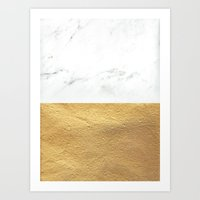 Color Blocked Gold & Mar… Art Print