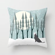 The Wolf Month Throw Pillow