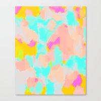 Carmela - Pink, green, blue abstract art Canvas Print