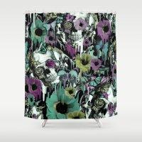 Mrs. Sandman, melting rose skull pattern Shower Curtain