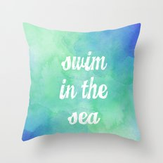 Swim in the Sea Throw Pillow