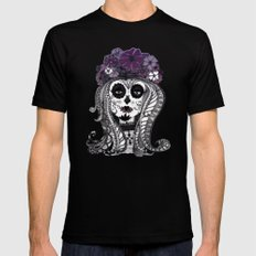 FLOWER CANDY SKULL SMALL Black Mens Fitted Tee