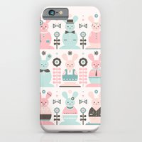 iPhone Cases featuring Pink Sugar Gingerbread Rabbits  by Carly Watts