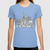 Paris Toile Gold Womens Fitted Tee Tri-Blue SMALL