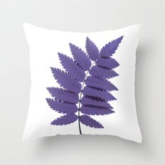 Purple Rowan Leaf Throw Pillow