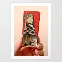 Matchbox Lady and Pug Art Print