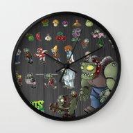 Wall Clock featuring Plants Vs Zombie  , Plan… by Ira Gora