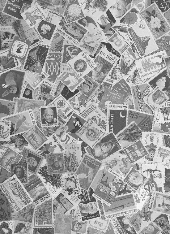 Vintage Postage Stamp Collection - 01 (BxW) Art Print