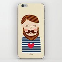 iPhone & iPod Skin featuring Bearded Sailor Lover by Milanesa