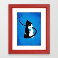White And Black Cats In … Framed Art Print
