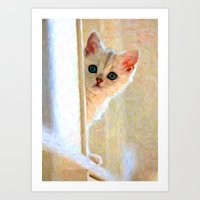 Kitten By The Window - Painting Style Art Print