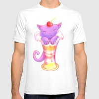 Sorbet Cat Mens Fitted Tee White SMALL