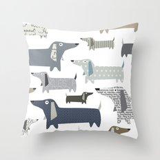 Weiner Dog Pattern Throw Pillow