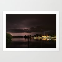 Lightning over the Marina  Art Print