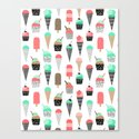Ice Cream - Summer fresh modern minimal print pattern design gifts for college  Canvas Print
