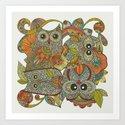 4 Owls Art Print