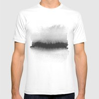 Black and White Horizon Mens Fitted Tee White SMALL