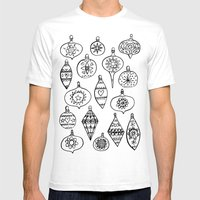 Retro Christmas Ornaments Mens Fitted Tee White SMALL