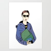 Bag Lady Blue Art Print