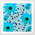 Pale Blue Flowers and Vines Art Print