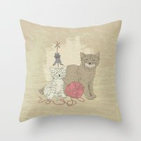 Naughty Cats Throw Pillow