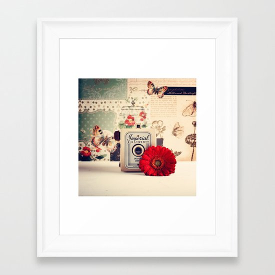 Retro Camera and Red Flower (Retro and Vintage Still Life Photography) Framed Art Print