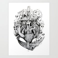Rabbits and Hearts Art Print