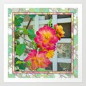 TROPICANA ROSE ON WHITE LATTICE Art Print