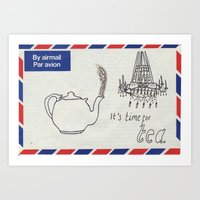 Art Print featuring A Parisian, British Tea by PintoQuiff