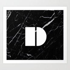 Black Marble - Alphabet D Art Print