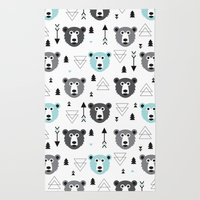 Geometric grizzly bear and arrows Rug