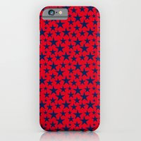 Blue stars on bold red background illustration. iPhone 6 Slim Case