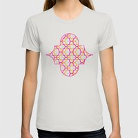 Moroccan Trellis Overlaps Womens Fitted Tee Silver SMALL