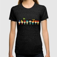 Snow White And The 7 Dwa… Womens Fitted Tee Tri-Black SMALL