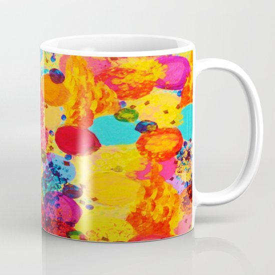 TIME FOR BUBBLY 2 - Fun Fiery Orange Red Whimsical Bubbles Bright Colorful Abstract Acrylic Painting Mug