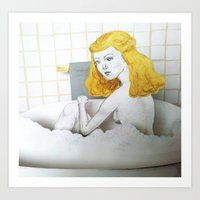 Bathtub Blonde Art Print