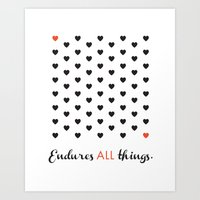 Love Endures All (Blk/Re… Art Print