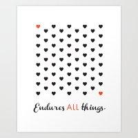 Love Endures All (Blk/Red) Art Print