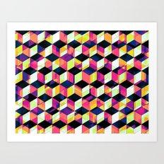 Geometric Cubes Pop Art Art Print