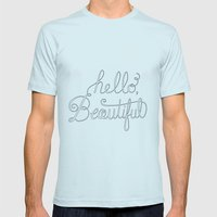 Hello beautiful quote hand-lettered Mens Fitted Tee Light Blue SMALL