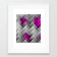 Hot Pink Geo Framed Art Print