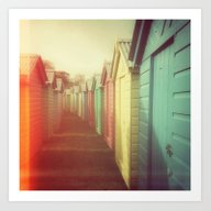 Beach Huts 01B - Retro Art Print
