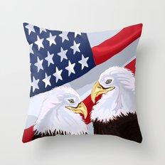 American Pride Through the Eyes of Eagles Throw Pillow