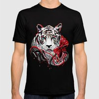 White Tiger Mens Fitted Tee Black SMALL