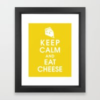 Keep Calm and Eat Cheese Framed Art Print